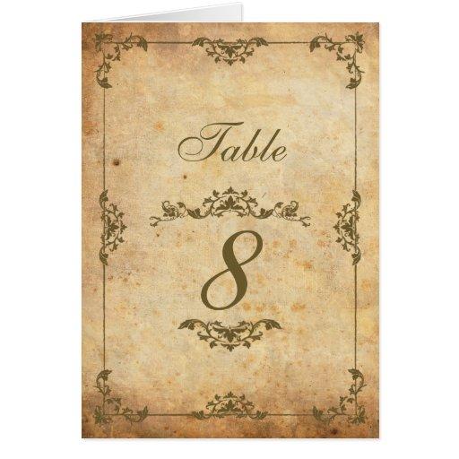 Vintage Motif Wedding Reception Table Number Note Card