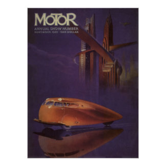 Vintage Motor Magazine Cover, Futuristic Car City Poster