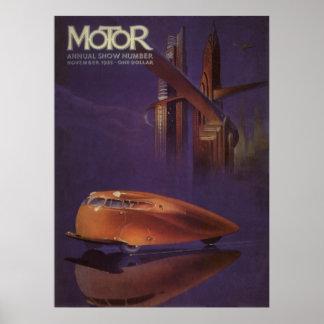 Vintage Motor Magazine Cover, Futuristic Car City Poster
