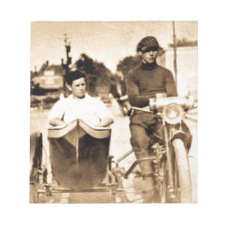 Vintage Motorcycle and Side Car Old School Cool Notepad
