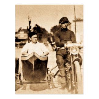 Vintage Motorcycle and Side Car Old School Cool Postcard