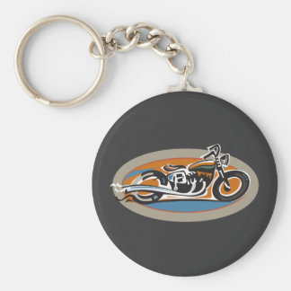 Vintage Motorcycle Basic Round Button Key Ring