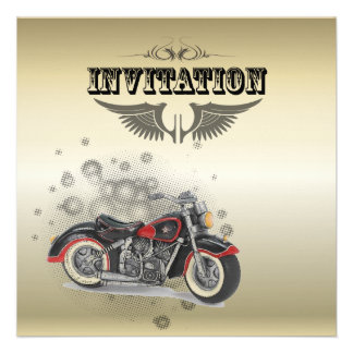Vintage Motorcycle Biker Wedding Invitation