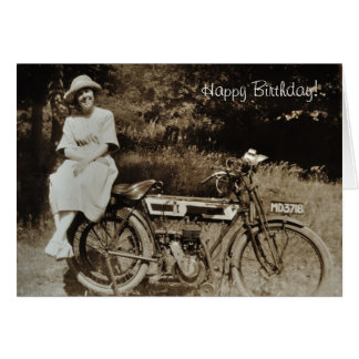 Vintage motorcycle birthday card