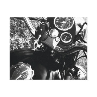 Vintage Motorcycle Black & White Stretched Canvas Print