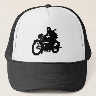 Vintage Motorcycle Man Silhouette Cap Truckers Hat