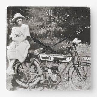 Vintage motorcycle photo wallclock