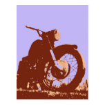 Vintage motorcycle pop art style postcard