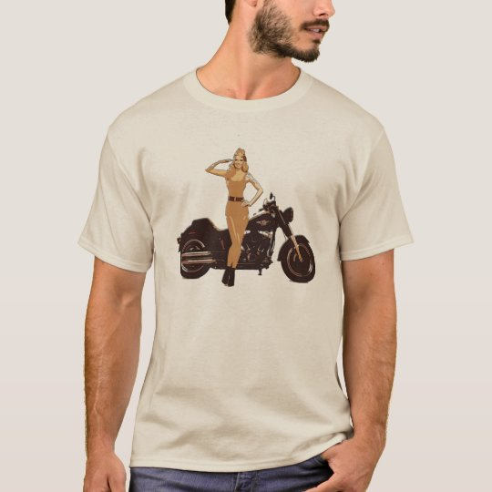Vintage motorcycle poster pin-up girl T-Shirt