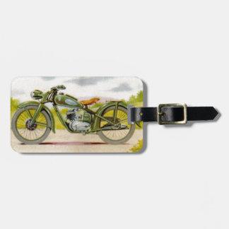 Vintage Motorcycle Print Luggage Tag