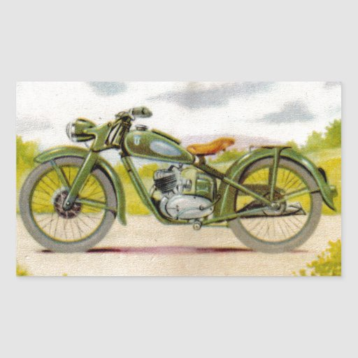 Vintage Motorcycle Print Rectangle Sticker