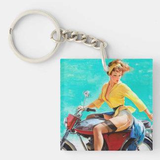 Vintage Motorcycle Rider Gil Elvgren Pinup Girl Acrylic Keychains