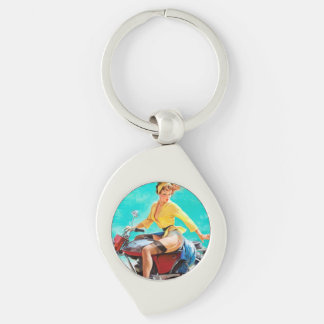 Vintage Motorcycle Rider Gil Elvgren Pinup Girl Key Chains