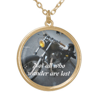 vintage motorcycle with quote necklace