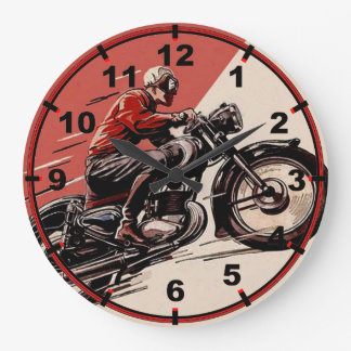 Vintage Motorcycles Large Clock