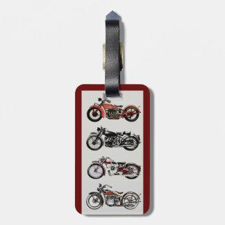 VINTAGE MOTORCYCLES red black grey Luggage Tag