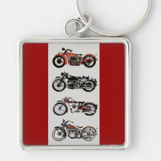 VINTAGE MOTORCYCLES Silver-Colored SQUARE KEY RING