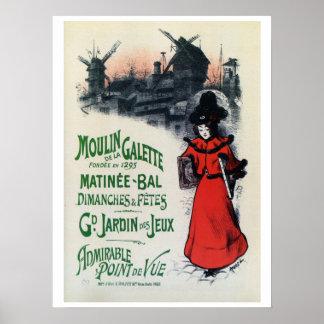 Vintage Moulin de la Galette French art Poster