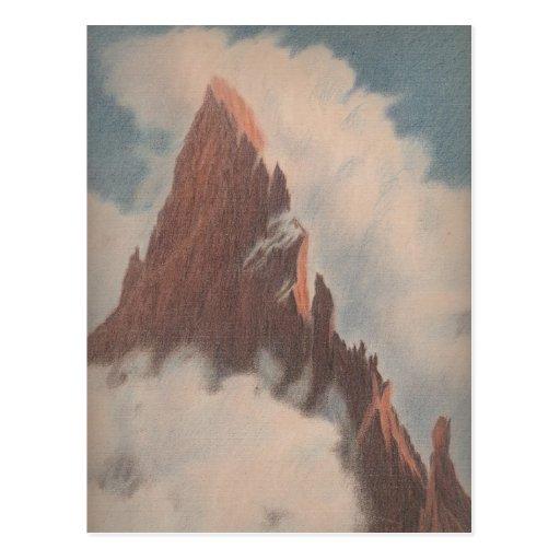 Vintage mountain view landscape clouds snow unique post cards