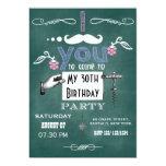 Vintage moustache Chalkboard Birthday Party Invite