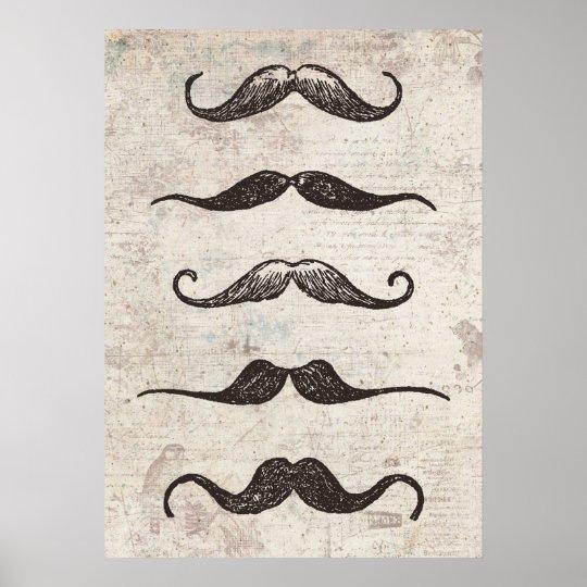 Vintage Moustache Poster