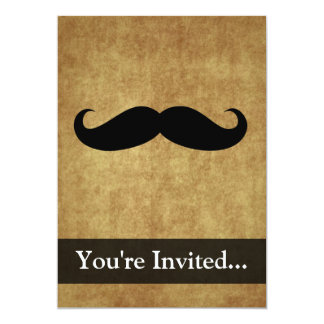 Vintage Moustache w/Custom Text 13 Cm X 18 Cm Invitation Card