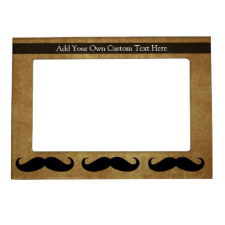 Vintage Moustache w/Custom Text Magnetic Frame