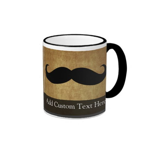 Vintage Moustache w/Custom Text Coffee Mug