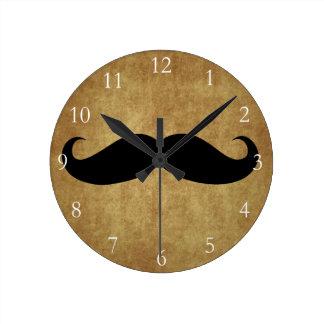 Vintage Moustache w/Custom Text Round Clock