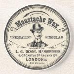 Vintage Moustache Wax Drink Coaster