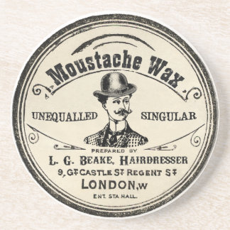 Vintage Moustache Wax Drink Coaster