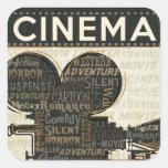 Vintage Movie Camera Square Stickers