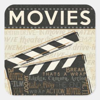 Vintage Movie Clapper Square Sticker