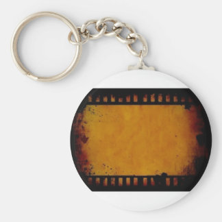 vintage movie film stripe basic round button key ring