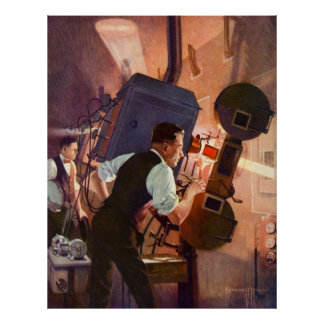 Vintage Movie Theater Projectionist Film Camera Poster