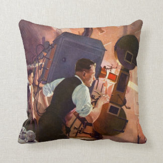 Vintage Movie Theater Projectionist Film Camera Throw Pillow