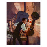 Vintage Movie Theatre Projectionist Film Camera Poster