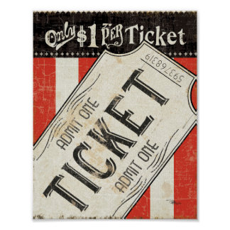 Vintage Movie Ticket Poster