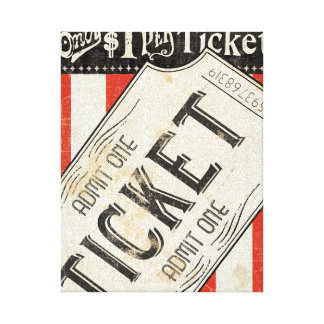 Vintage Movie Ticket Stretched Canvas Prints