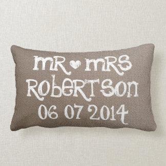 Vintage Mr and Mrs burlap lumbar wedding pillow Throw Cushion