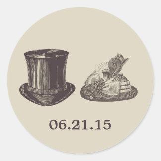 Vintage Mr. and Mrs. Hats Dark Tan Wedding Round Sticker