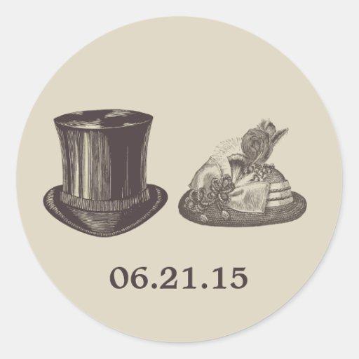 Vintage Mr. and Mrs. Hats Dark Tan Wedding Round Stickers