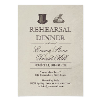 Vintage Mr. and Mrs. Hats Rehearsal Dinner 5x7 Paper Invitation Card