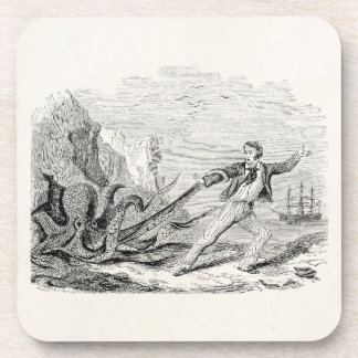 Vintage Mr. Beale Pouple Octopus Template Blank Coaster
