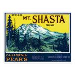 Vintage Mt Shasta California Pears Label Postcard