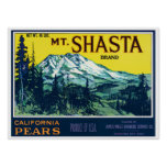 Vintage Mt Shasta California Pears Label Poster