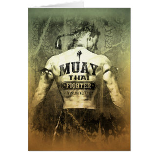 Vintage Muay Thai Fighter Greeting Card