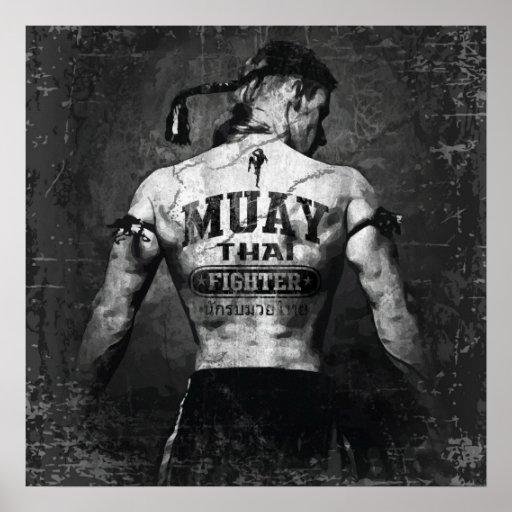 Vintage Muay Thai Fighter Poster