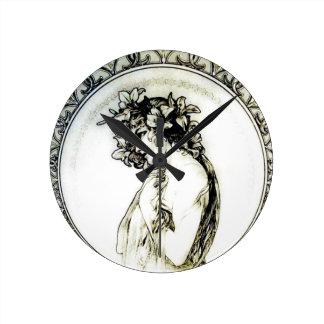 Vintage Mucha Art Nouveau Woman Lily Clock