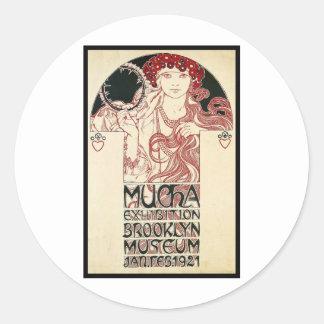 Vintage Mucha Exhibition Brooklyn Poster Classic Round Sticker